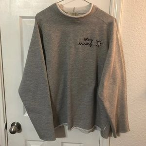 High neck raw hem embroidered sweatshirt